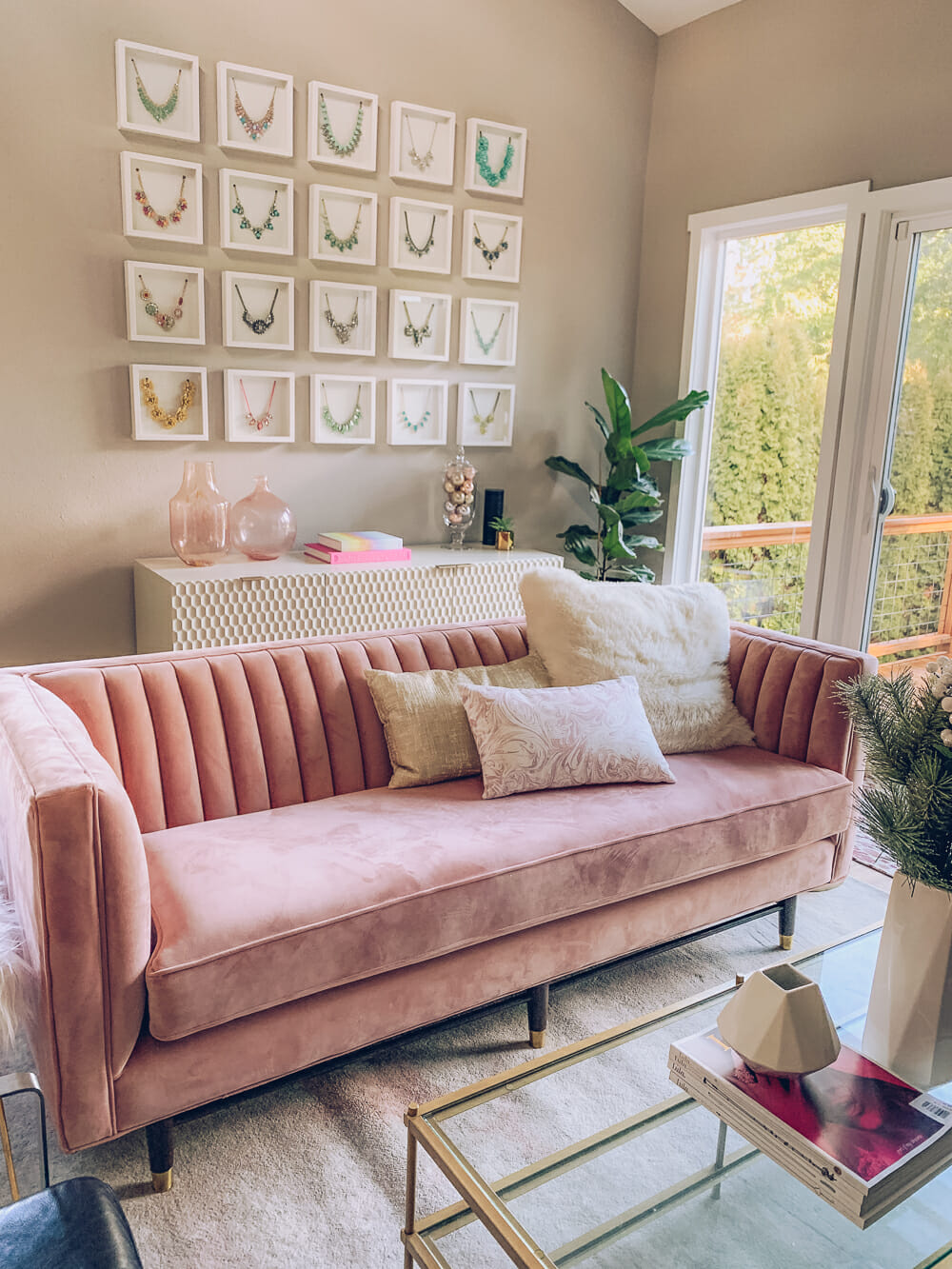 Chic And Modern Blush Pink Living Room