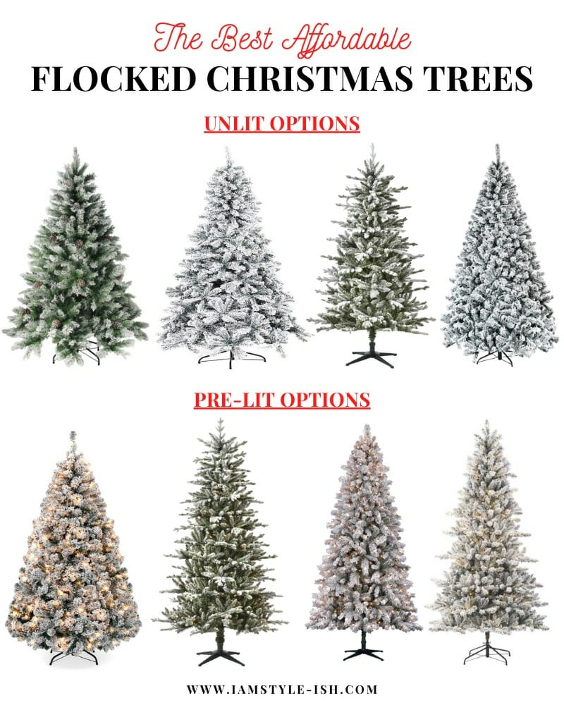 The Ultimate Flocked Christmas Trees Roundup + Decorating Ideas
